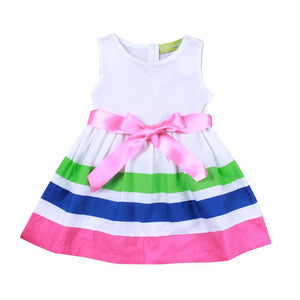 Bow knot striped kids dress