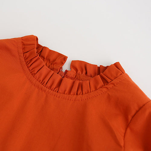 Autumn Colored Girls Long Sleeve Solid Ruffles Crew Neck Design