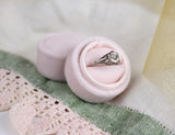 Blush Velvet Oval Ring Box