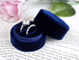 Handmade Ring Box in Vintage Style Navy Blue