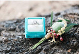 Turquoise and Cream Velvet Ring Box