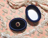 Navy Blue Oval Wedding Ring Box