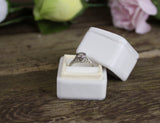 Velvet Ring Box in Ivory Vintage Style