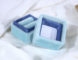Wedding Ring Box in Smokey Blue Velvet and Grosgrain Ribbon