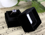 Velvet Ring Box in Midnight Black