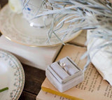Ring Box Vintage With  Seamless Top in Dove Grey Velvet for Weddings and Proposals, Heirloom Storage