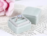 Engagement Ring Box Silver Grey Velvet