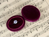 Oval Wedding Ring Box in Burgundy