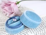 Smokey Blue Velvet Oval Ring Box