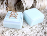 Light Blue Three Slot Velvet Ring Box