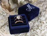 Navy Blue Triple Ring Box