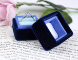 Ombre Blue Velvet Ring Box