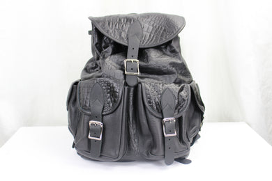 BLACK ALLIGATOR SKIN BACKPACK