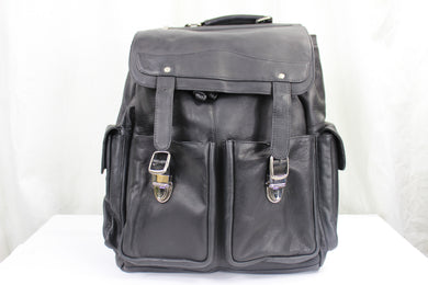 BLACK COLOMBIAN LEATHER BACKPACK