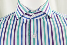 British Spread Collar with French Cuff - Purple & Green Stripe