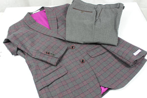 BRITISH WOOL SUIT MADE IN LONDON - 3 GREY/WINE