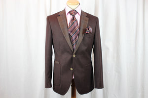 BRITISH WOOL SUIT MADE IN LONDON - 2 WINE