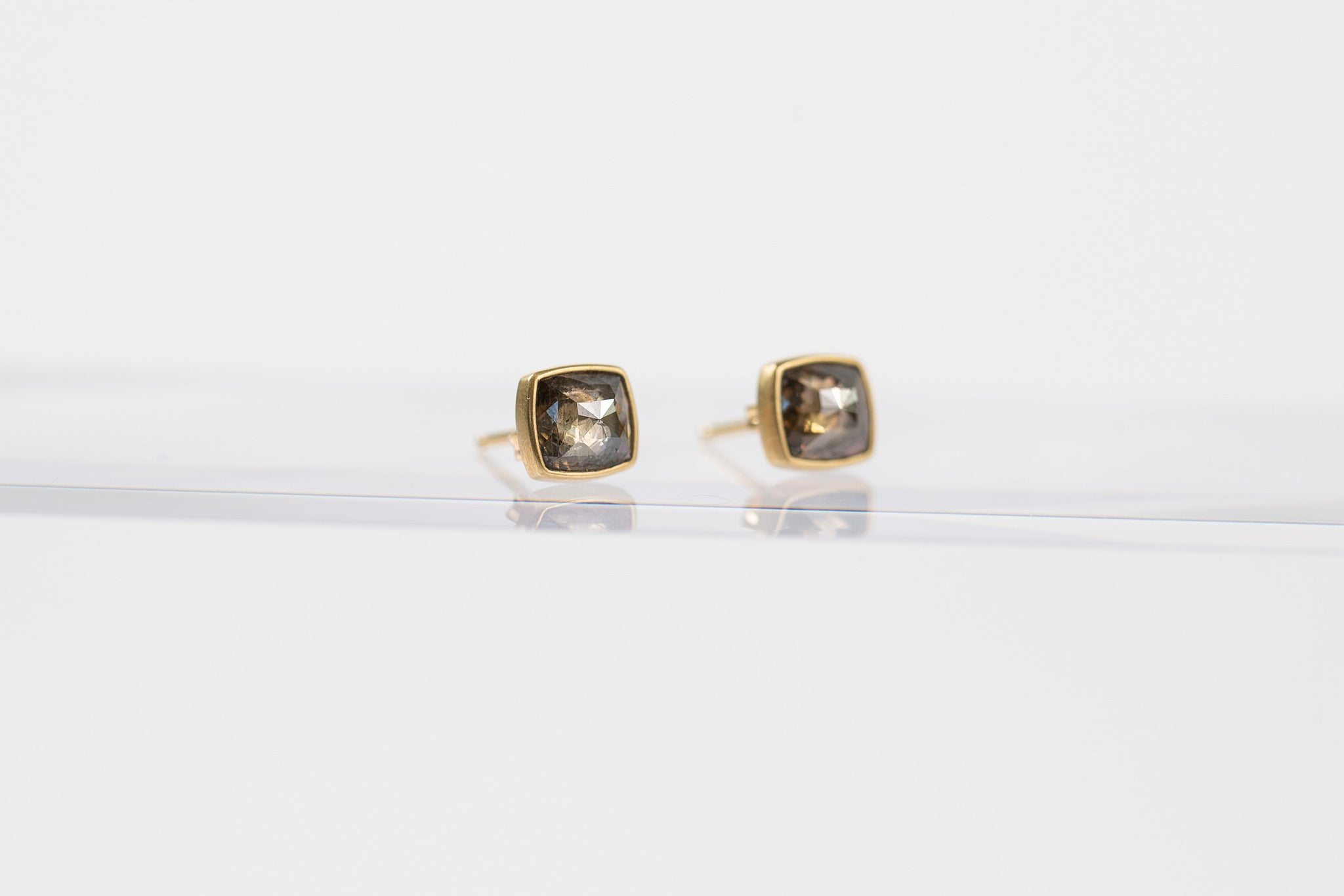 Cushion Cut Champagne Diamond Studs
