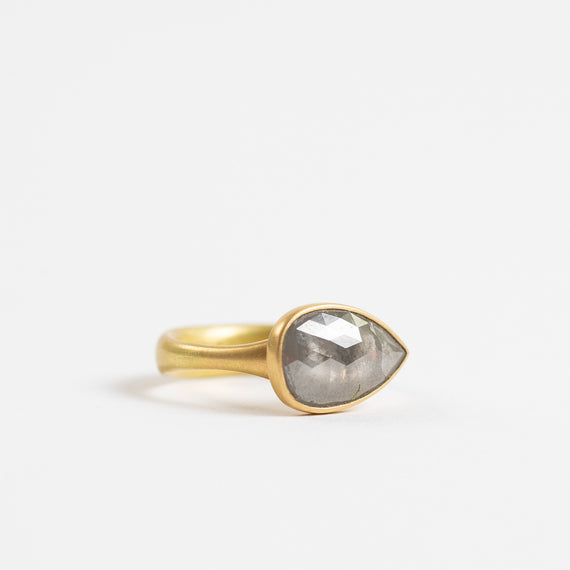Lola Brooks<br>Grey Tear Drop Diamond Ring