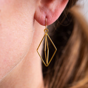Rosanne Pugliese <br>22k Double Origami Earrings