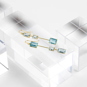 Rosanne Pugliese <br> Assymetrical Aquamarine Matchstick Earrings