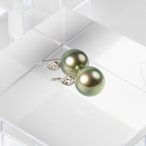 Jill Blake<br> Tahitian Pearl Drops with Pear shaped Diamonds