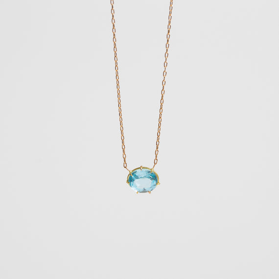 Rosanne Pugliese <br>Aquamarine Oval Faceted Pendant necklace