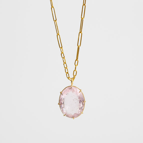 Rosanne Pugliese <br>Faceted Oval Morganite Pendant
