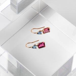 Jill Blake<br> Pink Sapphire and Blue Tourmaline Drops
