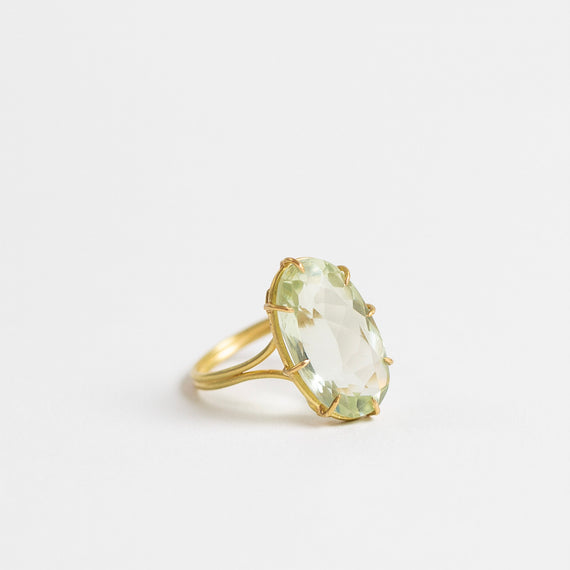Rosanne Pugliese <br>Oval Cut Pale Green Beryl Ring