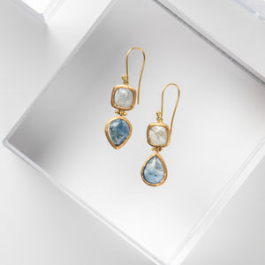 Isabel Borland<br> Silver-Blue Sapphire Drop Earrings