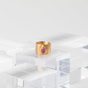 Isabel Borland<br> Fuchsia Sapphire Rose Cut Teardrop Cigar Band