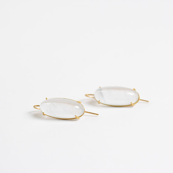 Rosanne Pugliese <br>Oval Moonstone Cabochon Earrings
