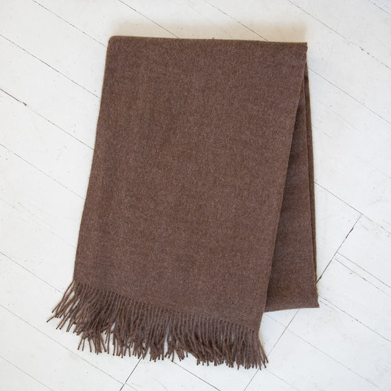 Baby Alpaca Heathered Brown Throw