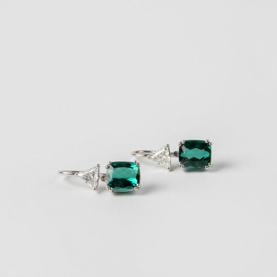 Jill Blake<br> Green Tourmaline and Trillion Cut Diamond Drops