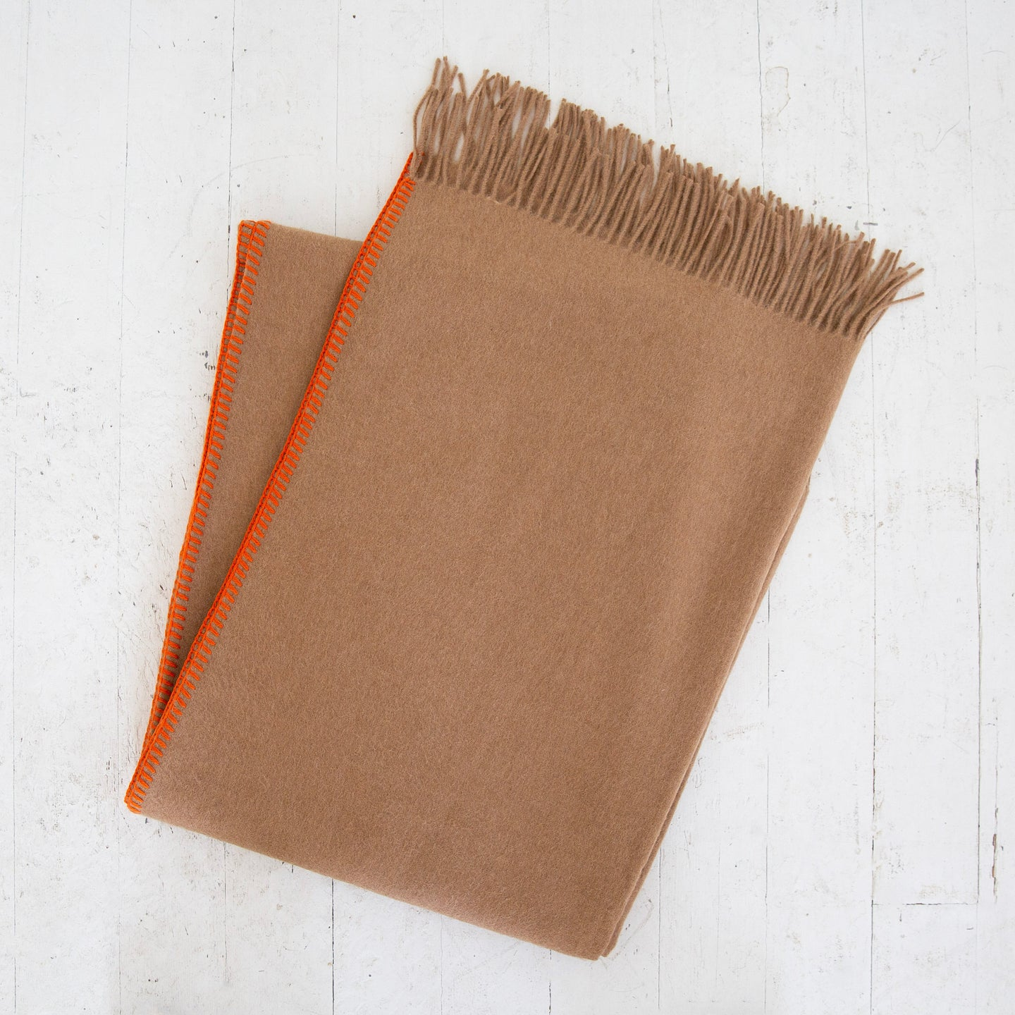 Camel Throw Orange Whipstitch