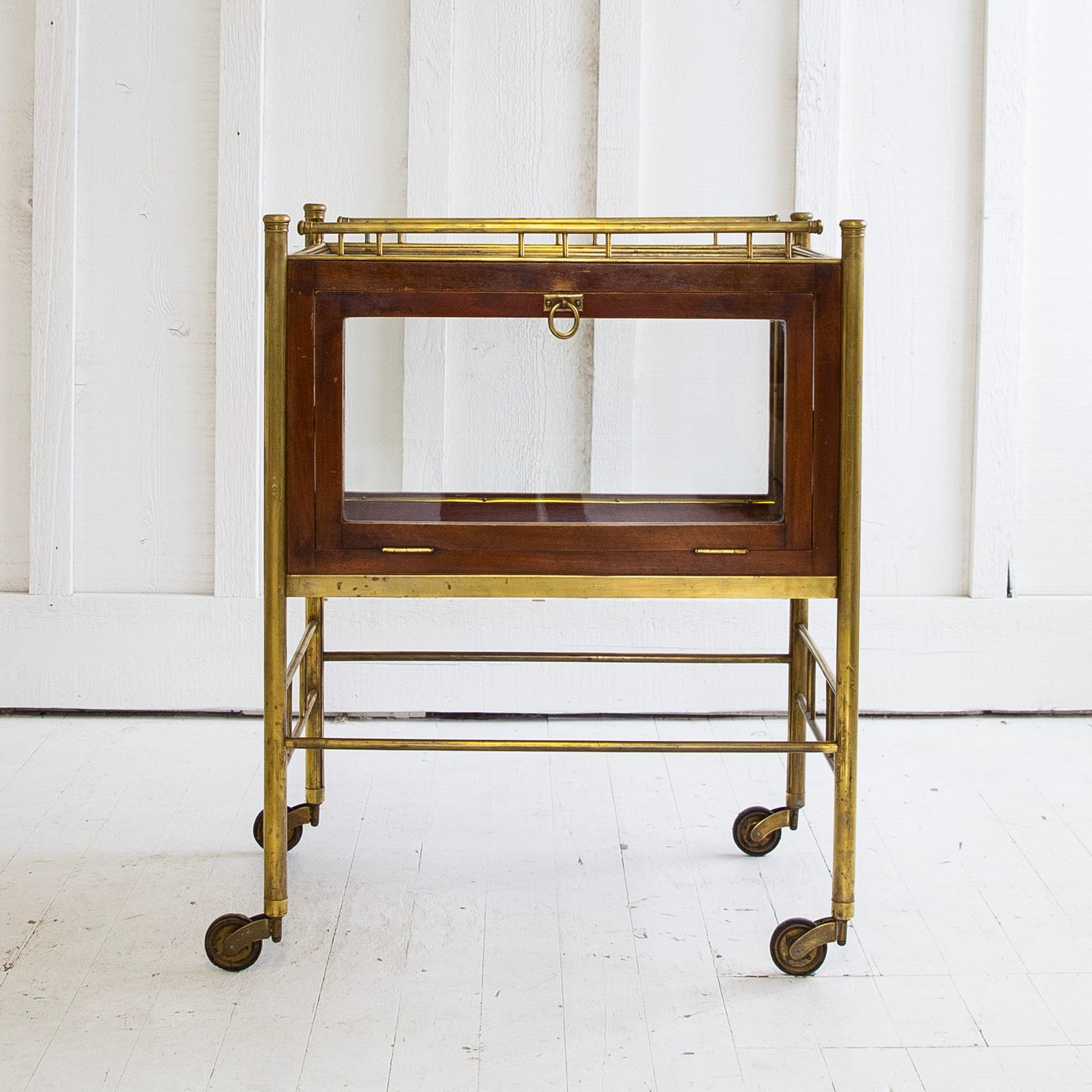 Brass Vitrine On Wheels