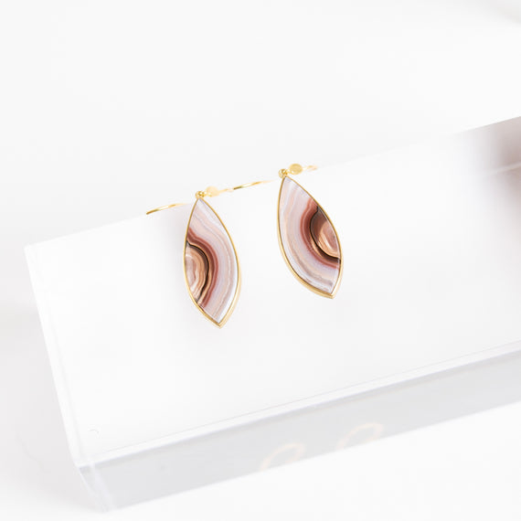 Lola Brooks<br>Banded Agate Navette Earrings