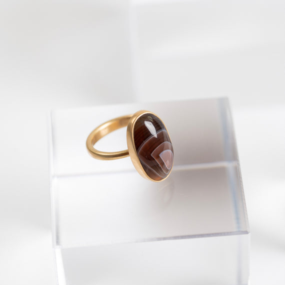 Lola Brooks<br>Oval Banded Agate Ring