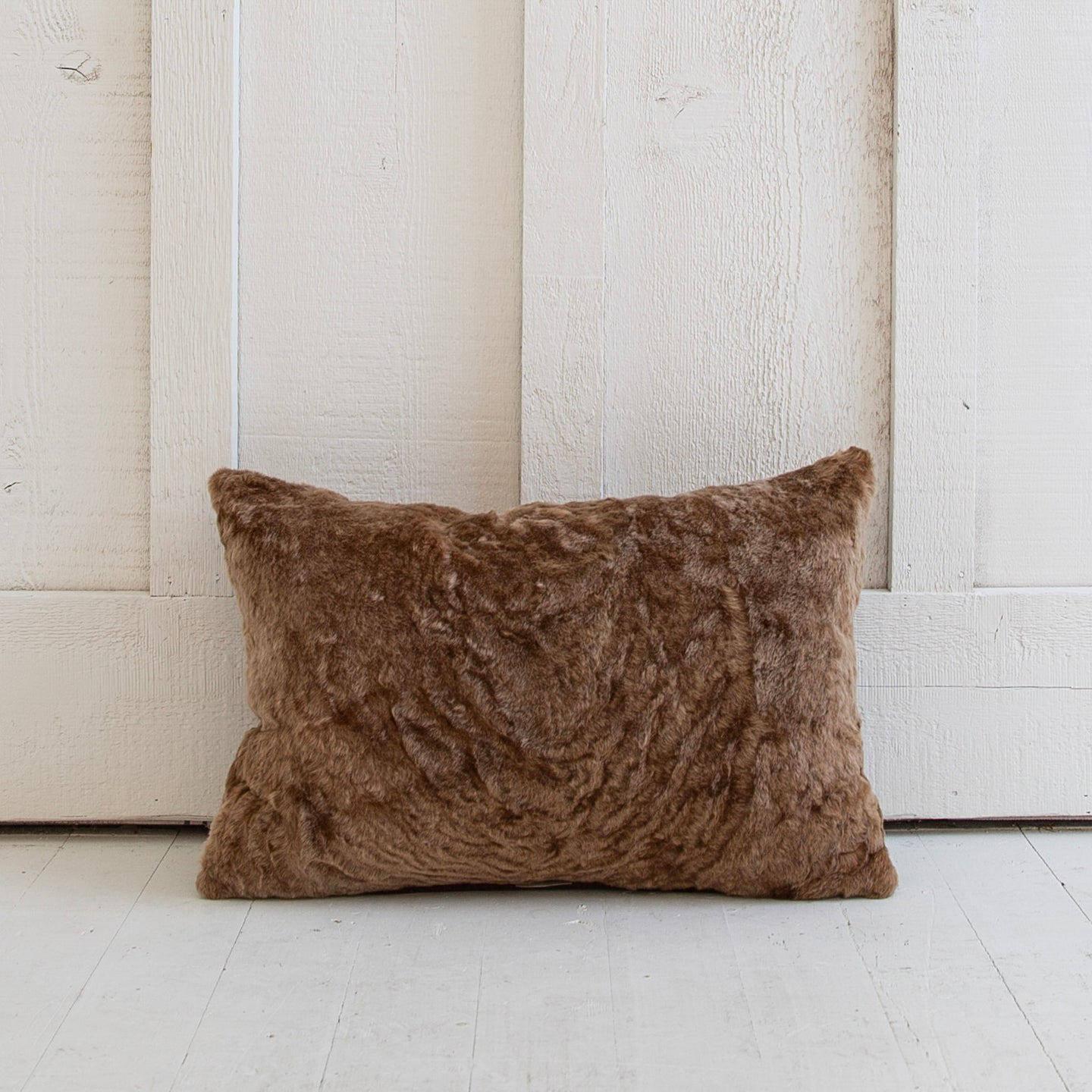 Taupe Shearling Pillow