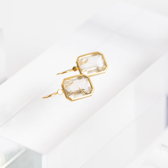 Lola Brooks<br>Emerald Cut Rutilated Quartz Earrings