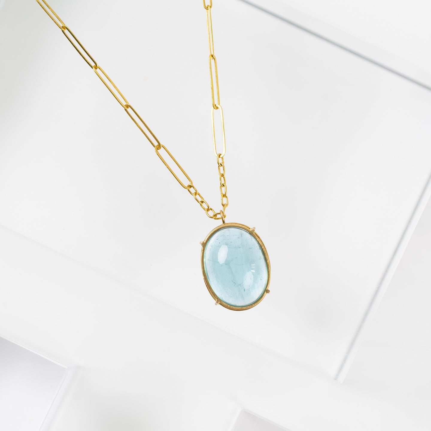 Rosanne Pugliese <br>Aquamarine Cabachon Necklace