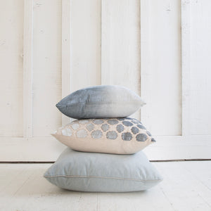 Tile Appliqued Linen Seagrass Pillow
