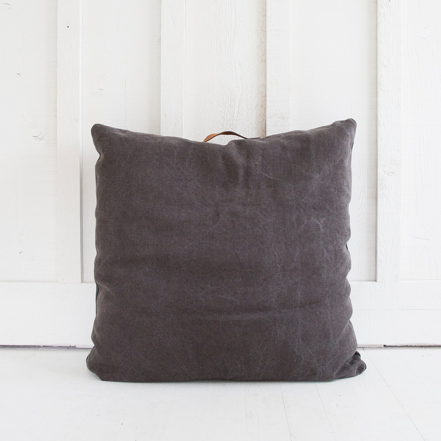 Linen and Leather Floor Pillow