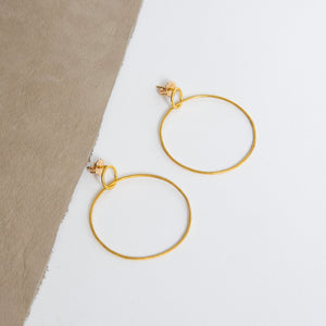 Rosanne Pugliese <br>22K Gold Large Double Circle Hoops/Post Earrings