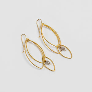 Rosanne Pugliese <br>Grey Diamond Briolette Orchid Leaf Earrings