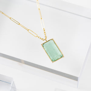 Rosanne Pugliese <br>Green Beryl Emerald Cut Necklace