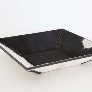 Salt and Pepper Cowhide Tray