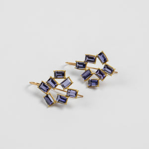 Rosanne Pugliese <br>Iolite Mosaic Tile Earrings