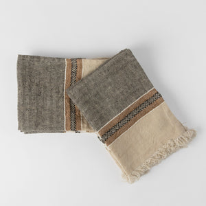 Black and Brown Linen Hand Towel